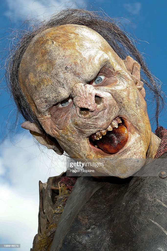 An orc poses after being made up for a prosthetic demonstration during the Hobbit Artisan Market ahead of the 'The Hobbit: An Unexpected Journey' world premiere at Waitangi Park on November 25, 2012 in Wellington, New Zealand.