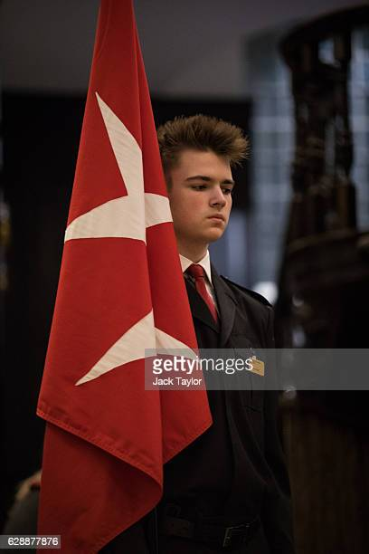 An Order of Malta Cadet is pictured during an AngloPolish Carol Service at the St Clement Danes Church on December 9 2016 in London England The...
