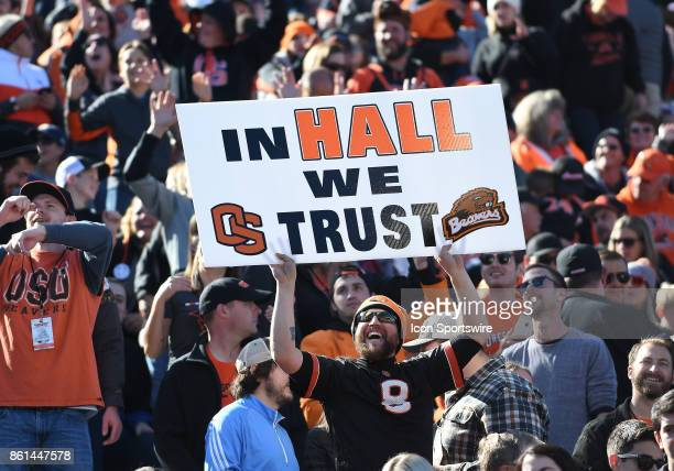 An Oregon State fan shows his support during a break in the action during a college football game between the Colorado Buffaloes and Oregon State...