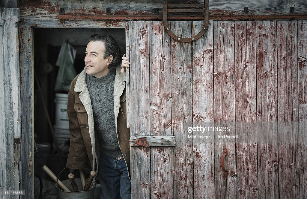 An Organic Farm In Upstate New York In Winter A Man At An ...