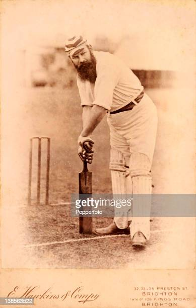 An original cabinet card produced by cricket photographers Hawkins Co of Brighton featuring the legendary Gloucestershire and England cricketer Dr WG...