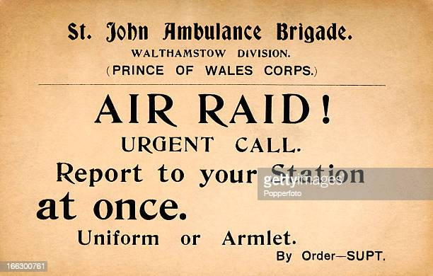 An original card warning of an imminent Air Raid delivered by the St John Ambulance Brigade to their volunteers in Walthamstow during World War One...