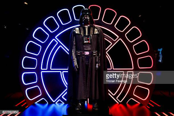 An original Darth Vader costume is displayed at the Star Wars Identities exhibition at The O2 Arena on November 11 2016 in London England Star Wars...
