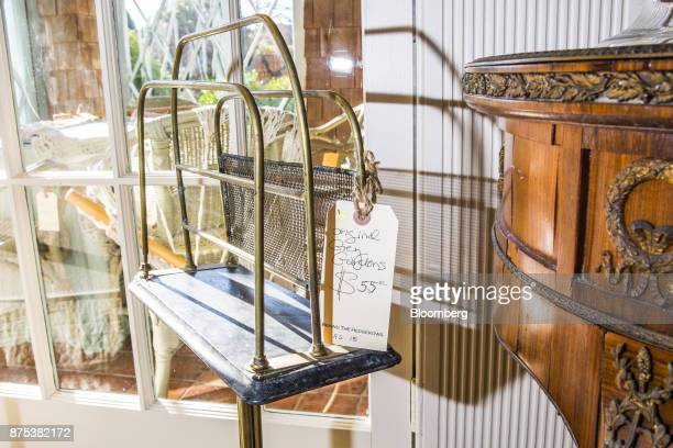 An 'Original Grey Gardens' tag is seen on an item during the estate sale at the house in East Hampton New York US on Friday Nov 17 2017 Grey Gardens...