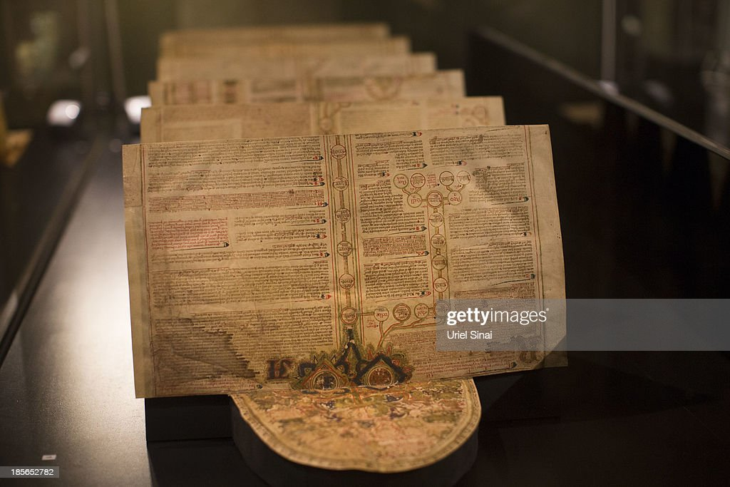 An original handwritten pigment on vellum from Italy that chronicles the biblical history from Adam to Jesus containing diagrams and lists of kings, emperors and popes ending in 1346 is displayed at the 'Book of Books' exhibition in the Bible Lands Museum on October 23, 2013 in Jerusalem, Israel. The exhibition contains more than 200 of the rarest biblical manuscripts, including original fragments from the Septuagint and the earliest New Testament Scriptures. This exhibition opened in Israel before heading to the Vatican and ends in Washington D.C, where it will be permanently displayed.