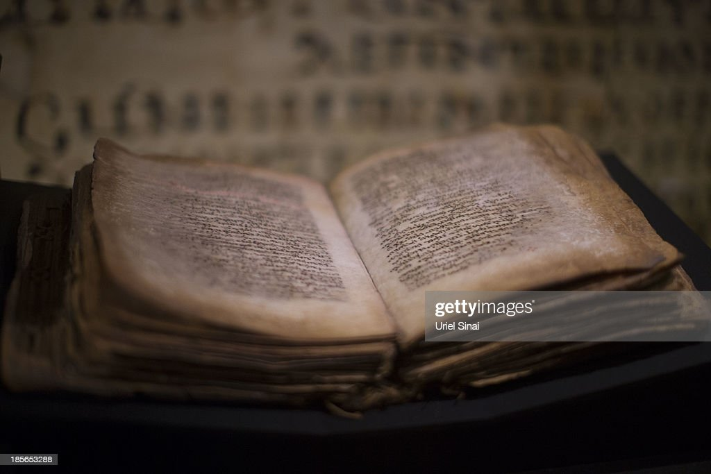 An original handwritten Syriac (Peshitta) translation of The Gospels from the 9th century is displayed at the 'Book of Books' exhibition in the Bible Lands Museum on October 23, 2013 in Jerusalem, Israel. The exhibition contains more than 200 of the rarest biblical manuscripts, including original fragments from the Septuagint and the earliest New Testament Scriptures. This exhibition opened in Israel before heading to the Vatican and ends in Washington D.C, where it will be permanently displayed.