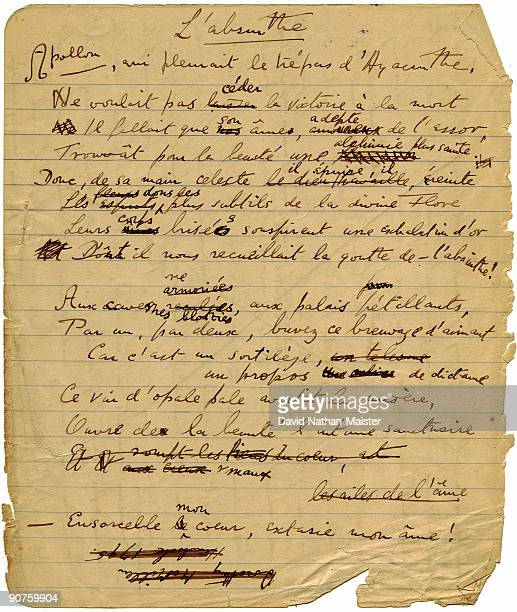 An original holograph draft by Aleister Crowley of the poem �La Legende de l'Absinthe� published in �The International� under the pseudonym Jeanne La...