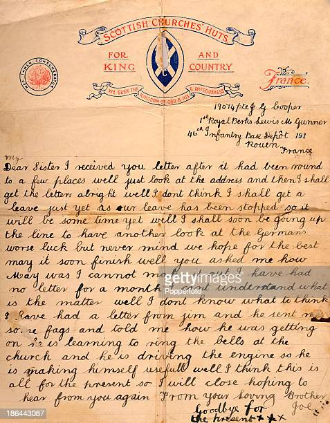 a personal letter from the war Letters to and from the front lines were a lifeline for service men and women fighting in world war  the next day, he got his first letter from home since he.