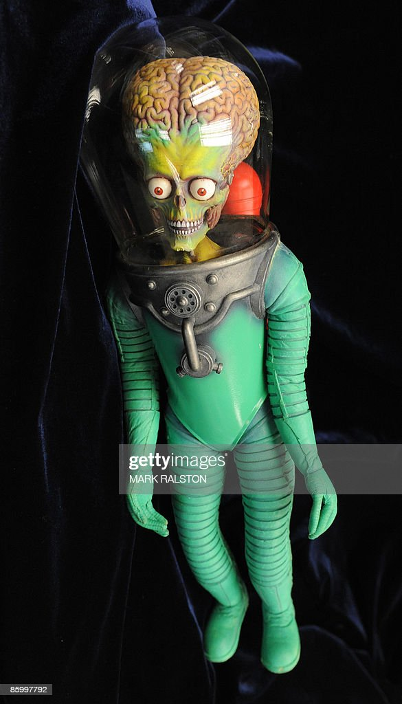 An original 'Martian in a Space Suit' stop-motion animation puppet from the movie 'Mars Attacks' is on display before being sold at the Profiles in History auction in Los Angeles on April 15, 2009. The puppet is valued at between 8,000-10,000 USD and will be sold at the auction along with other Hollywood memorabillia that will take place on April 30 and May 1. AFP PHOTO/Mark RALSTON