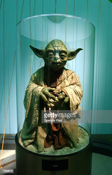 An original model of Yoda is displayed April 4 2002 at the exhibit 'Star Wars The Magic of the Myth' at the Brooklyn Museum of Art in Brooklyn New...