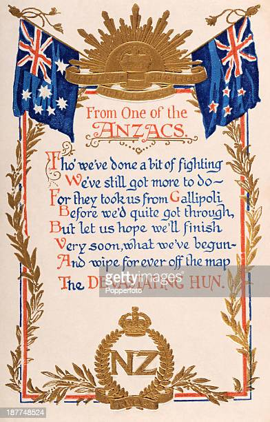 An original postcard featuring a poem 'From One of the ANZACS' during World War One sent 11th July 1916