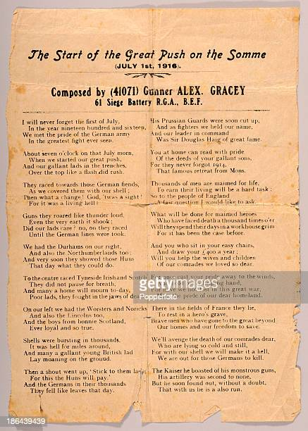 An original songsheet entitled 'The Start of the Great Push on the Somme' composed by Gunner Alex Gracey during World War One 1st July 1916