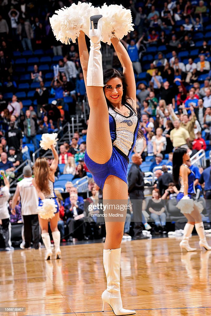 An Orlando Magic dancer performs during a game against the Detroit Pistons on November 21, 2012 at Amway Center in Orlando, Florida.