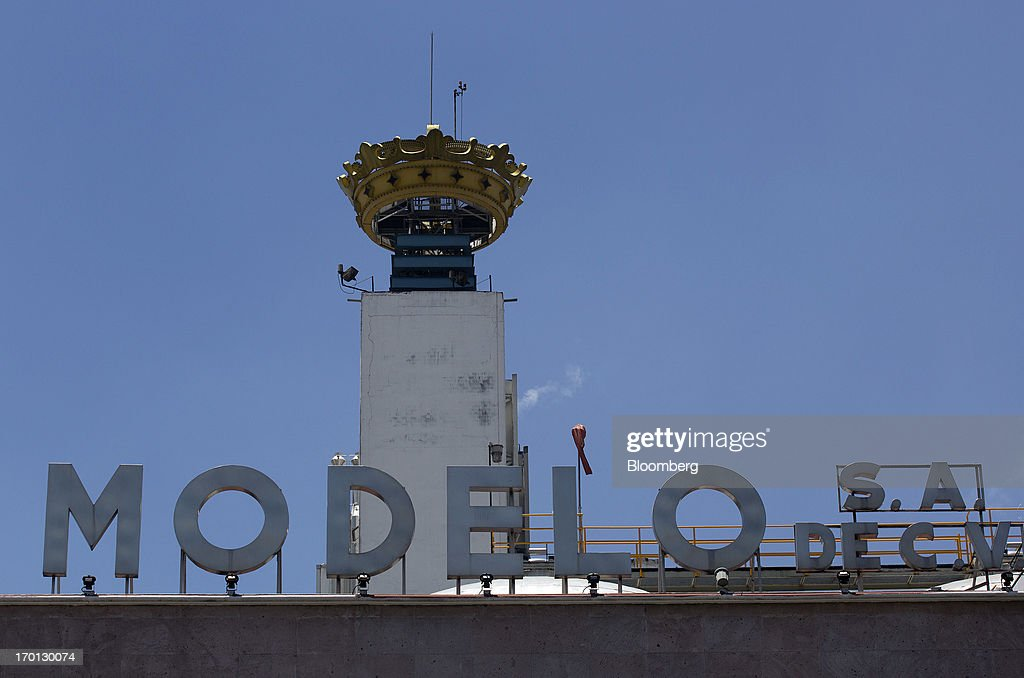 An ornamental crown sits atop the Grupo Modelo SAB brewery in Mexico City, Mexico, on Thursday, June 6, 2013. Heineken NV and Grupo Modelo SAB, the dominant brewers in Mexico with brands such as Dos Equis and Corona, are nearing the end of an almost three-year-old government antitrust probe. Photographer: Susana Gonzalez/Bloomberg via Getty Images
