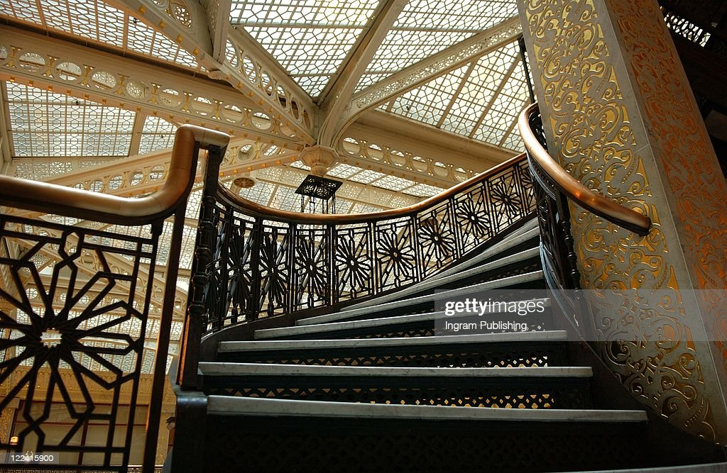 An Ornate Staircase In Rockery Building : Stock Photo