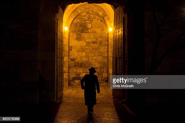 An Orthodox Jew walks through the famous Jaffa Gate in the Old City on January 12 2017 in Jerusalem Israel 70 countries attended the recent Paris...