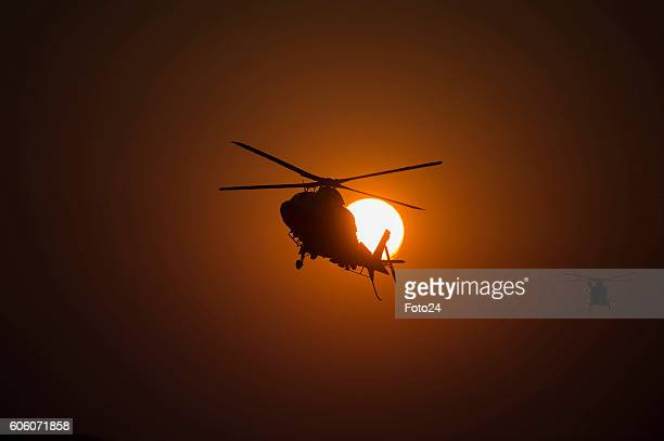 An Oryx helicopter flies during a battle simulation at Roodewal on September 14 2016 in Louis Trichardt South Africa The South African Air Force...
