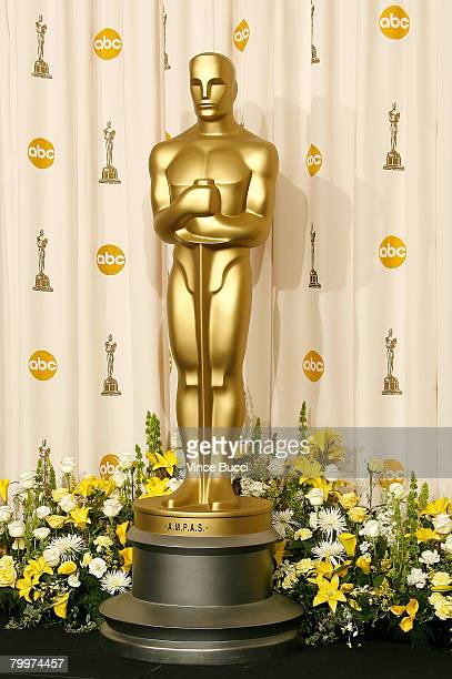 TELECAST*** An Oscar statue is displayed in the press room during the 80th Annual Academy Awards held at the Kodak Theatre on February 24 2008 in...