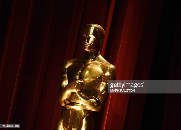 An Oscar statue is on display during the Academy Awards Nominations Announcement at the Samuel Goldwyn Theater in Beverly Hills California on January...