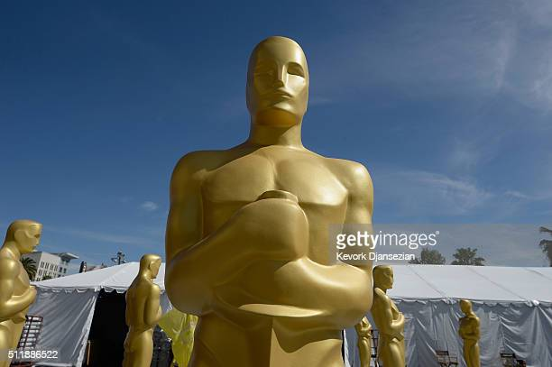 An Oscar statue is seen as preparations continue for the 88th Annual Academy Awards at Hollywood Highland Center on February 23 2016 in Hollywood...