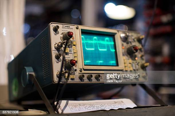 An oscilloscope linked to a Colossus computer used during World War II at Block H Bletchley Park pictured at The National Museum of Computing on June...