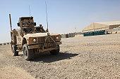 An Oshkosh M-ATV sits parked at Camp Leatherneck, Afghanistan.