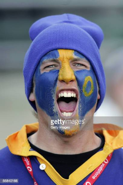 An Otago fan shows his colours during the NPC Rugby match between Otago and Canterbury at Carisbrook Stadium October 1 2005 in Dunedin New Zealand
