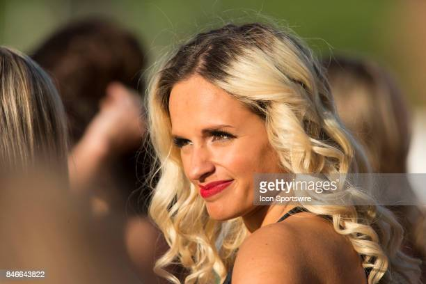 An Ottawa Redblacks cheerleader getting ready for the game in Canadian Football League Action at TD Place Stadium in Ottawa Canada on Saturday...