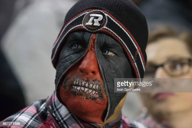 An Ottawa Redblacks fan dressed for Halloween watches the game against the Hamilton TigerCats in Canadian Football League play at TD Place Stadium in...