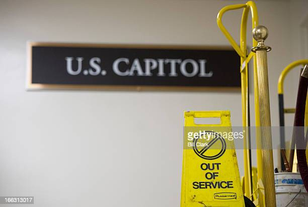 An out of service sign sits beneath the US Capitol sign in the Senate subway area of the Capitol on Thursday April 11 2013
