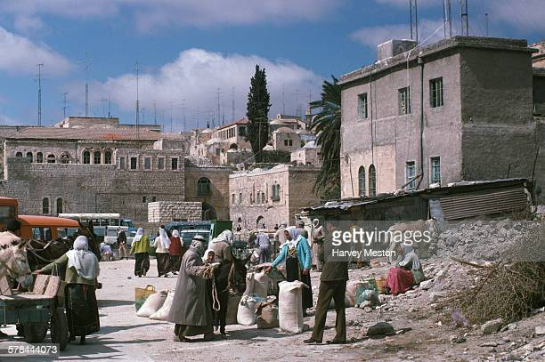 An outdoor market in the Old City of Jerusalem 1975