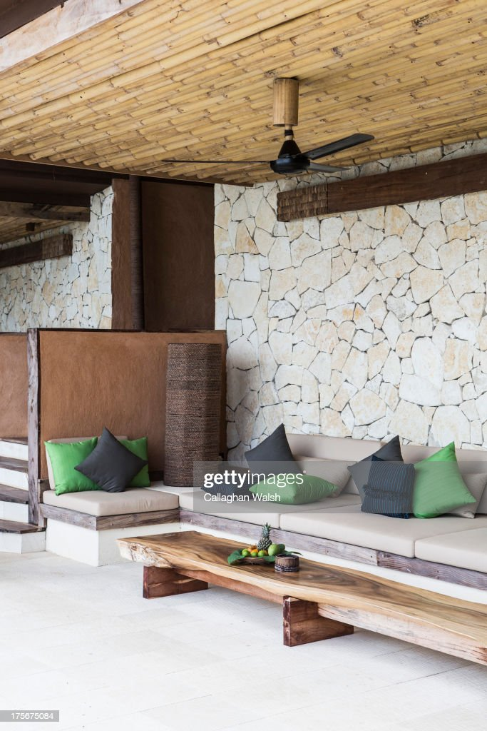 An outdoor seating area at Nihiwatu Resort, Western Sumba on April 11, 2013. Sumba is a remote island in Eastern Indonesia, part of the Lesser Sunda Islands group based in the province of East Nusa Tenggara.