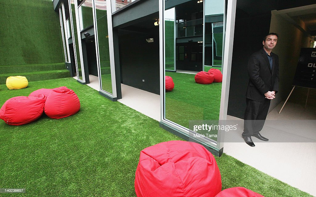 An outdoor space with beanbags is seen at a new gay resort hotel, THE OUT NYC, in midtown Manhattan after the ribbon-cutting ceremony on March 1, 2012 in New York City. The 105-room gay urban resort, which is 'straight-friendly,' is set to open March 1 in the Hell's Kitchen neighborhood and features a nightclub, spa, restaurant and outdoor spaces. It is being billed as New York City's first gay hotel.