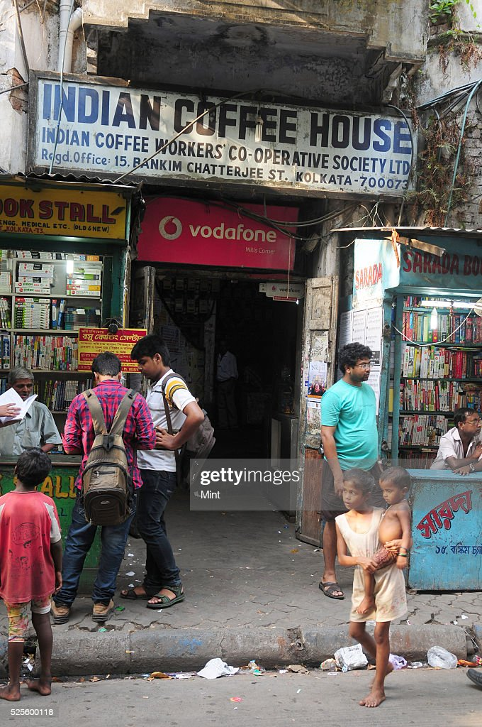 An outside view of Indian coffee house at College Street on May 28, 2015 in Kolkata, India.