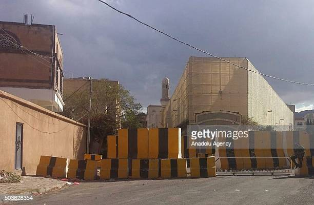 An outside view of Iranian embassy in Sana'a after Iran said that Saudi Arabia launched airstrikes against the Iranian embassy in Yemens capital...