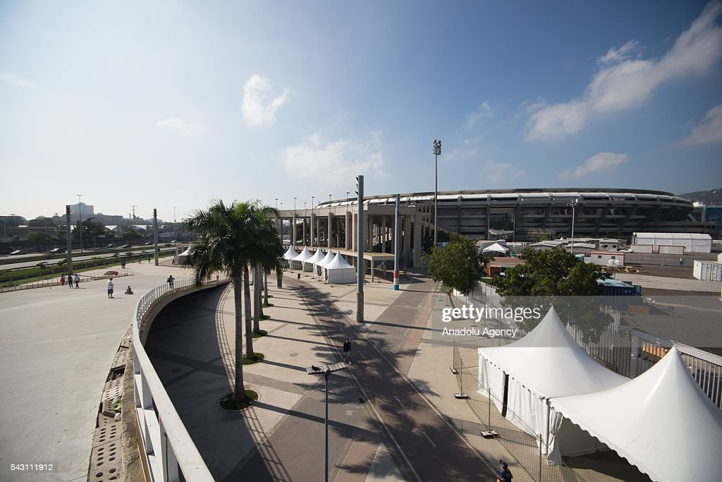 An outside view of Maracana stadium in Rio de Janeiro, Brazil as the preparations for the Olympics continue on June 25, 2016. More than 10,500 athletes from 206 National Olympic Committees (NOCs), including first time entrants Kosovo and South Sudan, are scheduled to take part.