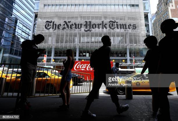 An outside view of New York Times building in New York United States on June 29 2017 NYT employees start a temporary strike against downsizing and...