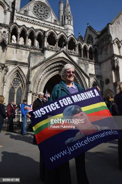 An outside view of Royal Courts of Justice after Royal Marine Alexander Blackman hearing on March 28 2017 in London England on March 28 2017 in...