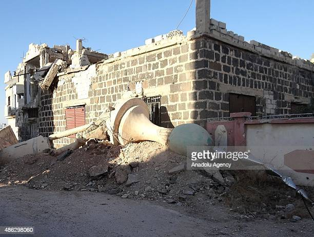 An outside view of the Arbin Mosque which was partly destroyed after Syrian regime forces' attack in Daraa Syria on September 3 2015