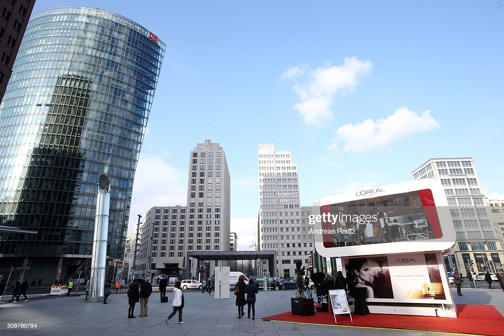 An outside view of the cocobello styling studio during the 66th Berlinale International Film Festival Berlin at on February 12, 2016 in Berlin, Germany.