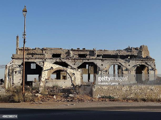 An outside view of the Ebubekir Siddik Mosque which was destroyed after Syrian regime forces' attack in Daraa Syria on September 3 2015