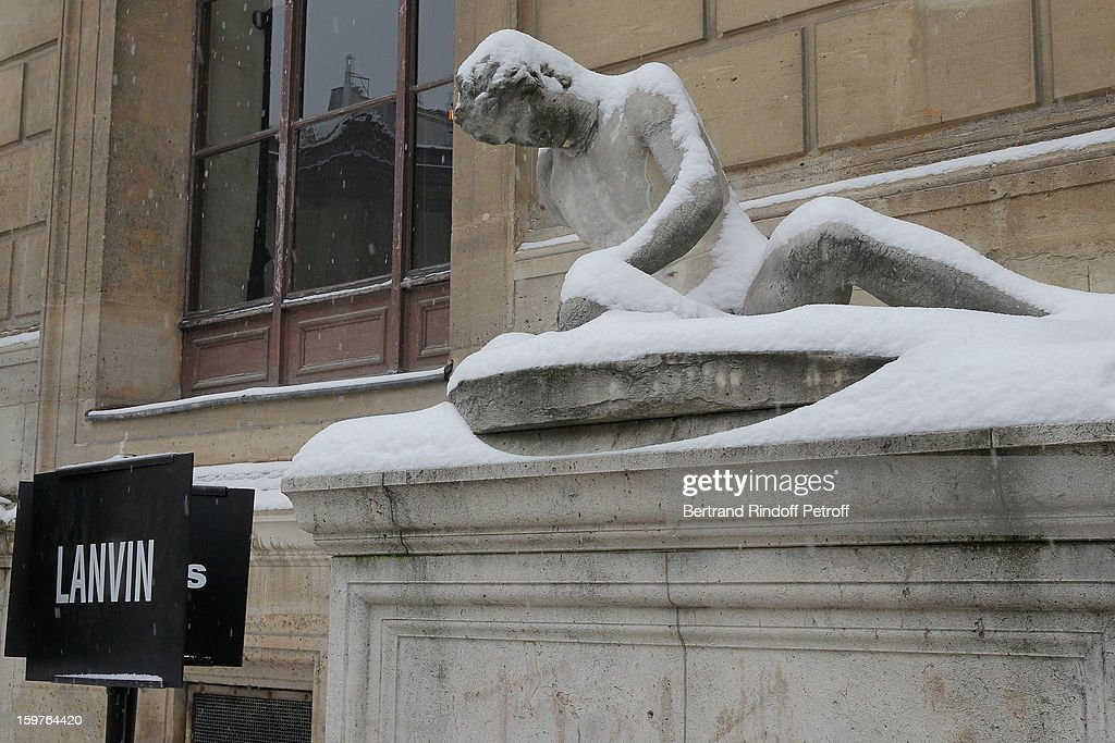 An outside view of the Ecole Nationale Superieure Des Beaux-Arts covered in snow following the Lanvin Men Autumn / Winter 2013 show as part of Paris Fashion Week on January 20, 2013 in Paris, France.
