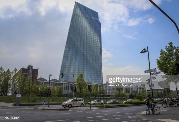 An outside view of the European Central Bank building in Frankfurt Germany on April 27 2017 ECB made a decision to hold the interest rates stable...