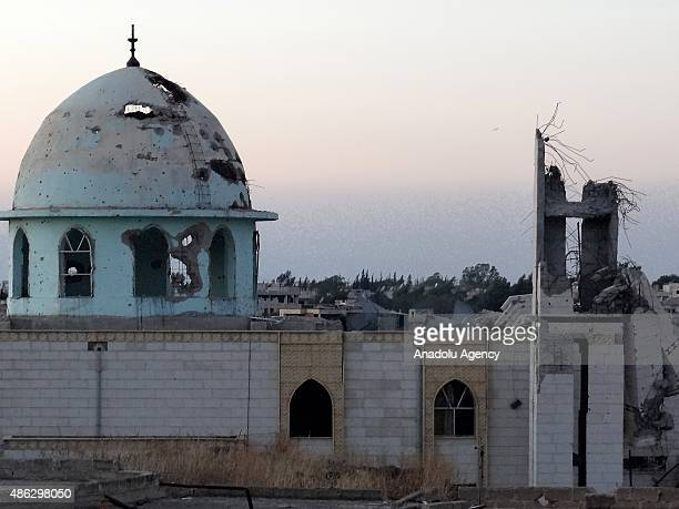 An outside view of the Hamza Mosque which was partly destroyed after Syrian regime forces' attack in Daraa Syria on September 3 2015