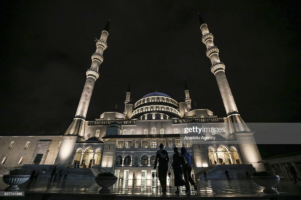 An outside view of the Kocatepe Mosque during the Miraj Night or 'Lailat al Miraj' , one of the Muslims' five holiest night around a year, on May 3, 2016 in Ankara, Turkey.
