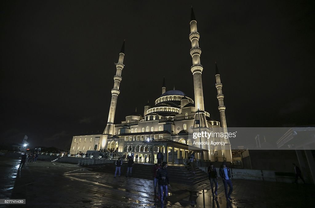 An outside view of the Kocatepe Mosque during the Miraj Night or 'Lailat al Miraj' , one of the Muslims' five holiest night around a year, on May 3, 2016 in Ankara, Turkey .