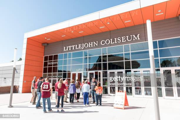 An outside view of the renovated Littlejohn Coliseum prior to 1st half action between the Clemson Tigers and the Florida State Seminoles on February...