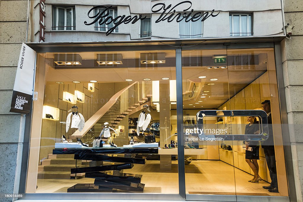 An outside view of the Roger Vivier boutique prior to the Vogue Fashion Night Out event, at 29 Faubourg Saint-Honore, on September 17, 2013 in Paris, France.