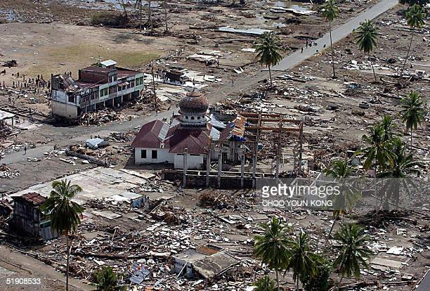 An over view shows a Muslim mosque amid rubble in Teunom 170 Km southwest from Banda Aceh in Aceh province Indonesia 02 January 2005 seven days after...