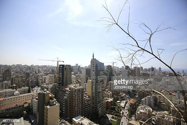 An over view shows a part of west Beirut seen from the Holiday Inn hotel in the Lebanese capital on April 11 as the nation marks 39years since the...
